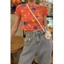 Girls Summer Cute Funny Cartoon Rainbow Printed Short Sleeve Slim Cropped T-Shirt