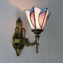Hallway Restaurant Petal Sconce Light Stained Glass 1 Light Tiffany Style Wall Light