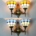 2 Lights Dome Wall Sconce Tiffany Style Stained Glass Wall Light in Blue/Yellow for Kitchen
