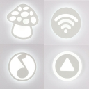 Acrylic Cartoon Pattern Sconce Wall Light Girl Boy Bedroom Lovely LED Wall Lamp in White
