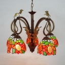 Restaurant Sunflower Chandelier with Leaf Stained Glass 5 Lights Rustic Pendant Lighting