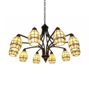 Tiffany Style Curved Chandelier 10 Lights Stained Glass Metal Hanging Light in Beige for Living Room