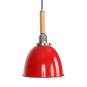 Metal Dome Shade Hanging Light Hallway Dining Room 1 Light Vintage Style Ceiling Lamp in Red