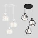Metal Melon Cage Pendant Lamp Living Room 3 Lights Industrial Hanging Light in Black/White