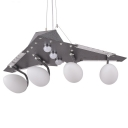 Boy Bedroom Airplane Hanging Light Metal Frosted Glass Antique Style Suspension Light