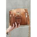 Stylish Plain Zipper Embellishment Leather Buckle Crossbody Bucket Bag 18*10*16 CM