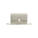Chic Plaid Pattern Button Embellishment Wool Crossbody Bag 18*6*12 CM