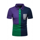 New Stylish Men's Colorblock One Pocket Chest Short Sleeve Fitted Polo Shirt