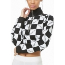 New Stylish Plaid TOKYO Letter Print Half-Zip Front High Neck Long Sleeve Black Cropped Sweatshirt
