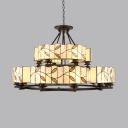 Vintage Style Drum Hanging Light Glass 2-Tier 18 Lights Chandelier with Leaf for Living Room