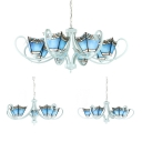 Craftsman Cafe Restaurant Chandelier Glass 5/6/8 Lights Mediterranean Style Suspension Light in Blue