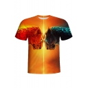 Men's Summer Stylish Round Neck Short Sleeve 3D Ice And Fire Leopard Print Yellow T-Shirt