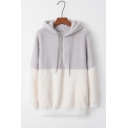 Hot Fashion Half-Zip Front Drawstring Hood Patchwork Long Sleeve Fluffy Hoodie
