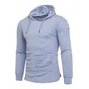 Men's New Style Simple Plain Long Sleeve Ripped Detail Casual Drawstring Hoodie