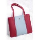 Trendy Color Block Rivet Embellishment Gear Side Shoulder Bag 21*21*3 CM