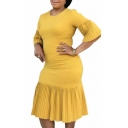 Womens Plus Size Simple Plain Round Neck Ruffled Sleeve Midi Bodycon Pleated Dress