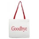 Fashion Letter GOODBYE Printed White Canvas Shoulder Bag 32*31.5 CM