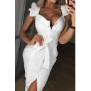 New Fashion Square Neck Ruffled Sleeve Button Front Tied Waist Hollow Out White Midi Sheath Dress