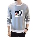 Cool Clown Printed Contrast Trim Round Neck Side Letter Zipper Long Sleeve Sweatshirt