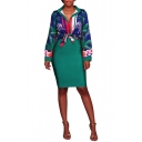 Women's Floral Print Lapel Collar Long Sleeve Button-Front Mini Shirt Dress