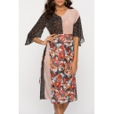 Women's New Stylish Floral Figure Print Half Sleeve V-Neck Colorblock Midi Black Chiffon Dress