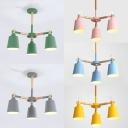 Bucket Kid Bedroom Chandelier Wood 3 Lights Contemporary Macaron Color Suspension Light