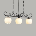 Frosted Glass Melon Island Light Dining Room 3 Lights Traditional Linear Chandelier in Black