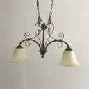 Vintage Style Linear Chandelier with Bell Shade 2 Lights Frosted Glass Island Light for Bar