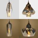 Leaf Decoration Hanging Light 1 Light Antique Style Clear Glass Pendant Lamp for Hallway Foyer