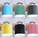 Metal Wood Cylinder Wall Light Hallway Study 1 Light Modern Macaron Color Sconce Light