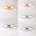 Nordic Style Macaron Colored Ceiling Lamp Snowflake 6 Heads Acrylic Semi Flush Mount Light in White/Warm for Kindergarten
