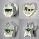 Wavy/Pentagon/Star/Heart Wall Light Modern Acrylic Wall Sconce with Plant Stone Decoration for Foyer