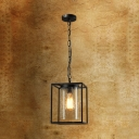 Glass Rectangle Ceiling Light with Cylinder Shade 1 Light American Rustic Hanging Light in Black for Bar