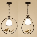 American Rustic Pendant Lamp Dome Shade 1 Light Frosted Glass Hanging Light with Bird & Circle/Oval Ring for Bedroom