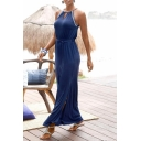 Fashion Women's Sleeveless Halter Neck Tied Waist Plain Split Side Maxi Shift Dress