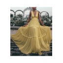 Women's Fashion Sexy Plunge Neck Sleeveless Plain Lace Patch Floor Length Tank Yellow Dress