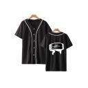 Summer Trendy Comic Logo Printed Short Sleeve V-Neck Button Front Baseball Shirt