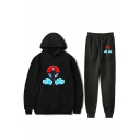 Popular Comic Anime Character Cloud Print Casual Hoodie with Sport Sweatpants Two-Piece Set