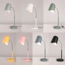Contemporary Macaron Colored Desk Light 1 Head Metal Rotatable LED Reading Light with Gooseneck for Bedroom