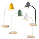 1 Light Bell Shade Desk Lamp Modern Style Metal LED Study Light in Gray/Green/White/Yellow for Bedroom