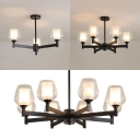 Bud Shade Hallway Pendant Light Metal Glass 3/6/8 Lights American Rustic Ceiling Light in Black