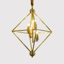 Metal Flameless Candle Chandelier with Square Shade Bedroom 4 Lights Traditional Suspension Light in Brass