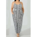 Women's New Trendy Spaghetti Straps Sleeveless Geometric Printed Plus Size Maxi Slip White Dress