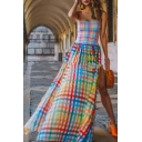 Women's Trendy Off The Shoulder Rainbow Plaid Printed Split Side Maxi Swing Chiffon Dress