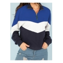 Colorblock Zip Front Stand Collar Long Sleeve Sweatshirt
