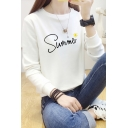 SUMMER Letter Sun Printed Round Neck Long Sleeve Sweatshirt