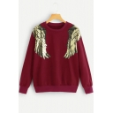 Unique Wing Sequined Patched Round Neck Long Sleeve Sweatshirt