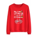 Cartoon Dog Bicycle Smile Face Printed Letter Round Neck Long Sleeve Sweatshirt
