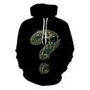 Unique Funny Skull Question Mark Printed Long Sleeve Unisex Black Hoodie