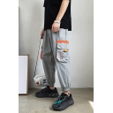 Guys Street Style Fashion Colorblock Flap Pocket Elastic Cuff Tapered Cargo Pants